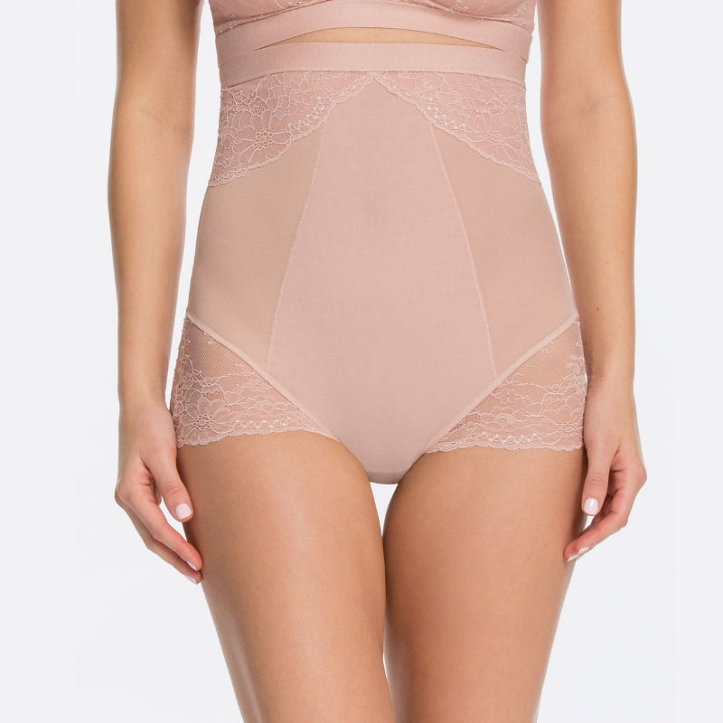 Spanx Spotlight On Lace Firm Control Briefs Vintage Rose Front