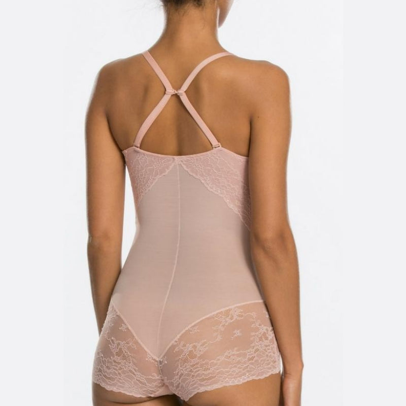Spanx Spotlight On Lace Firm Control Shaping Bodysuit Vintage Rose Straps Back