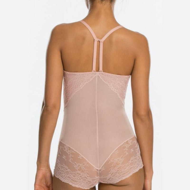 Spanx Spotlight On Lace Firm Control Shaping Bodysuit Vintage Rose T Back Straps