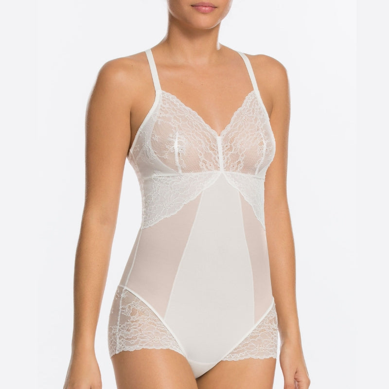 Spanx Spotlight On Lace Firm Control Shaping Bodysuit White Front