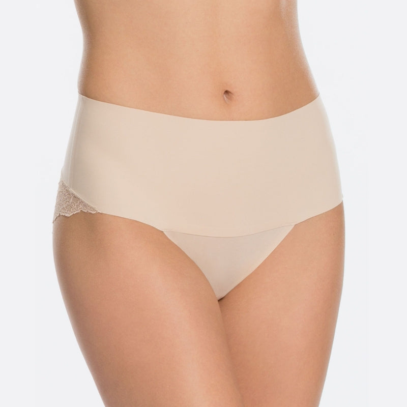spanx undietectable lace control panty front nude