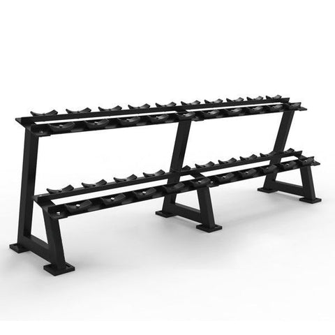 Commercial Two-Tiered 10-Pair Dumbbell Rack