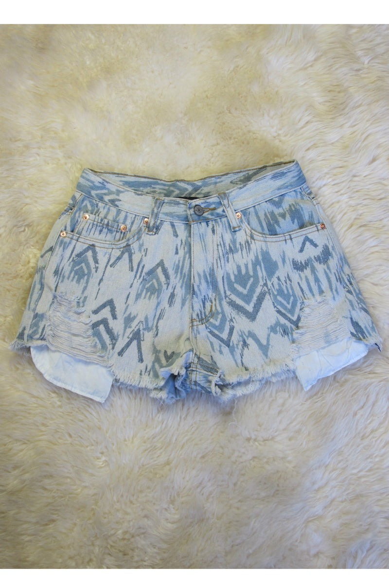 Denim Tribal Shorts