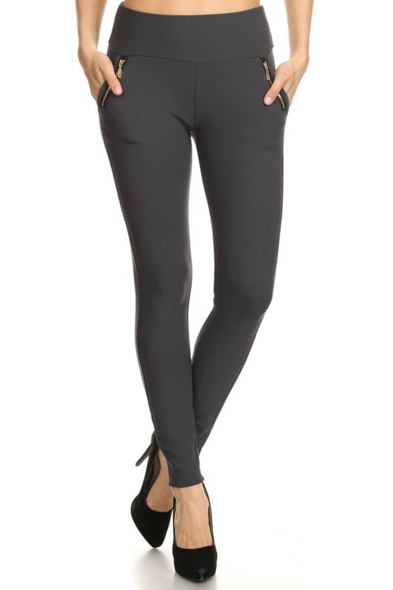 Gunmetal Zip Leggings-1 LEFT!