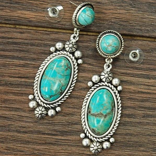 Turquoise Oval Post Earrings