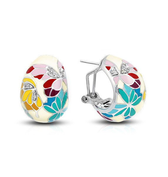 Belle e'toile Sterling Silver Butterfly Kisses White Earrings (88047)