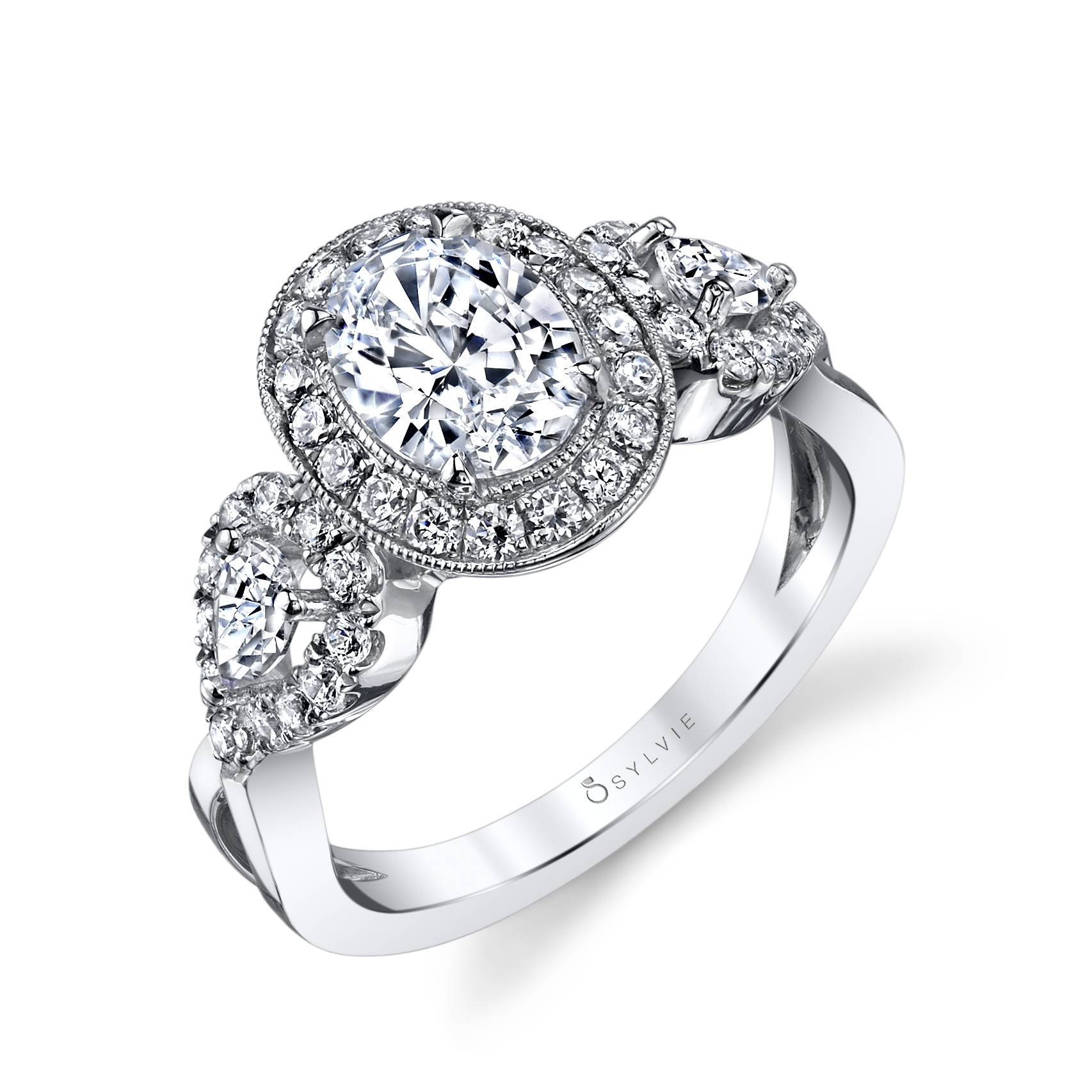 14K White Gold Sylvie .72ctw Diamond Engagement Semi-Mount (90600)