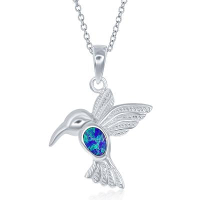 Sterling Silver Created Blue Opal Inlay Hummingbird Necklace (91302)