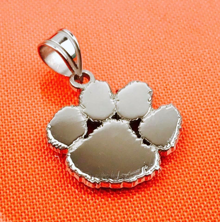 Sterling Silver LogoArt Officially Licensed Clemson University Tiger Paw Pendant