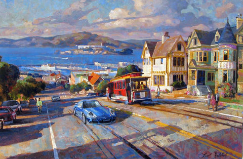 Cable Car to the Bay canvas print by Leon Roulette
