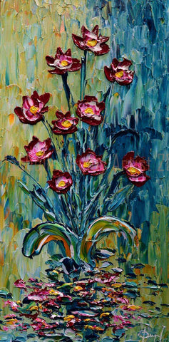 "Lotus of Bright Colors 40x20"" original by Isabelle Dupuy available at Gallery 1870"