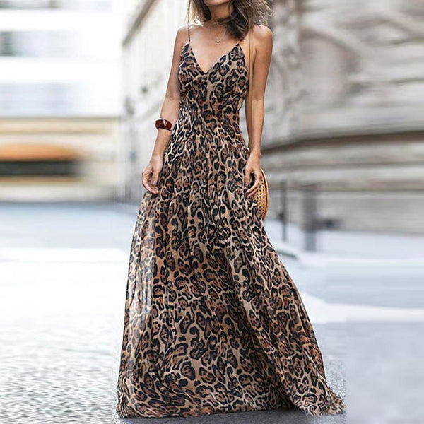 KENYA Leopard Print Maxi Long Pleated Dress