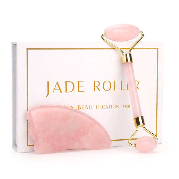 Natural Rose Quartz and Natural Jade Stone Roller Slimming Face Massager Lifting Tool