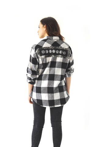 ''Moon Phase'' Plaid Long-Sleeve Button Down Flannel