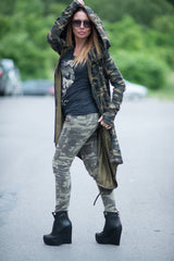 Military Hooded Vest, Camouflage Long Vest