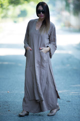 Cacao Beige Elegant Set, Summer Elegant kaftan with wide legs Pants