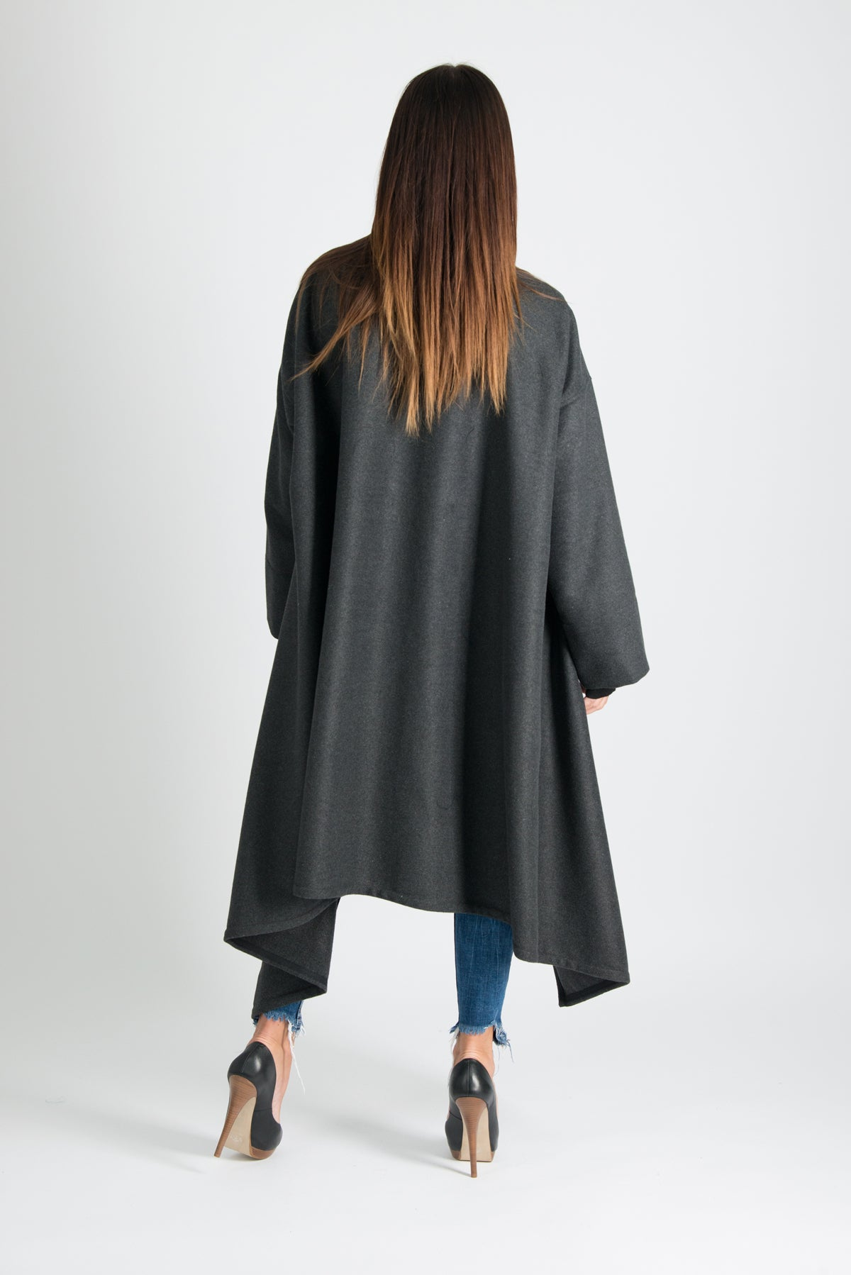 Dark grey Winter women Coat, Cashmere Coat, Autumn Coat with Loose Line
