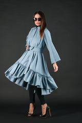 Autumn Winter Cashmere maxi dress, Blue loose dress