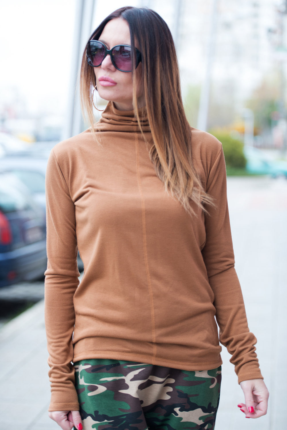 Woman Brown Cotton Knitting Turtleneck Blouse, Turtleneck Top with long sleeves