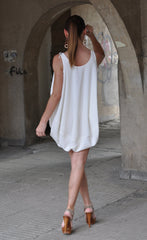 White Georgette Maxi Tunic Dress, Maxi White oversize Top