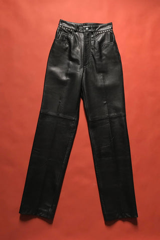 Vintage Black Leather Michael Hoban North Beach Studded Skinny Leather Pants - One More Chance Vintage
