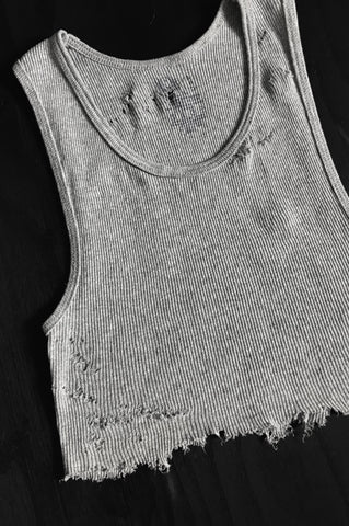 Punk Rock Lies Cutoff Distressed Crop Tank 021 in Gray - One More Chance Vintage