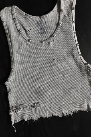 Punk Rock Lies Cutoff Studded & Pinned Crop Tank 025 in Gray - One More Chance Vintage