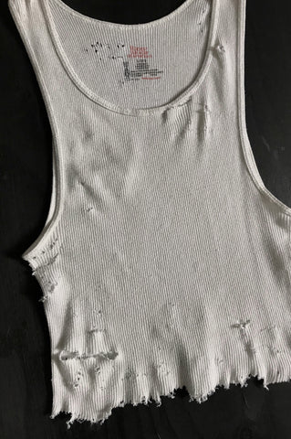 Punk Rock Lies Cutoff Distressed Tank 016 in White - One More Chance Vintage