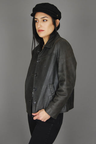 Vintage Black Brown Worn In Distressed Leather Jacket - One More Chance Vintage