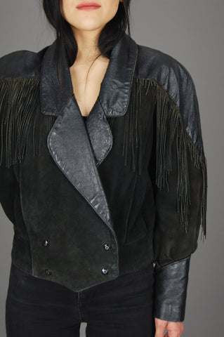 Vintage Black Fringe Suede Ostrich Textured Leather Western Jacket - One More Chance Vintage