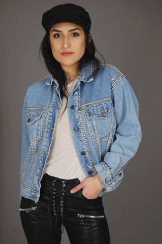 One More Chance Vintage - Punk Rock Lies Vintage Distressed Denim Studded Jacket