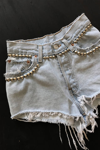 One More Chance Vintage - Punk Rock Lies Vintage Levis Studded Denim Cutoff Jean Shorts
