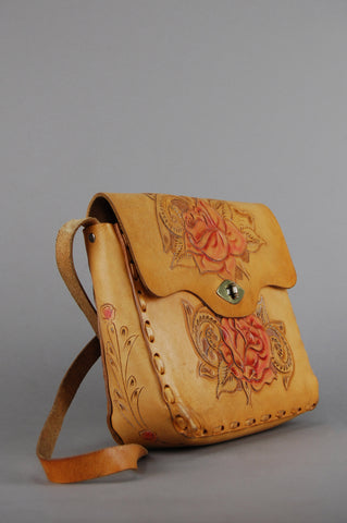 One More Chance Vintage - Vintage Mexican Floral Tooled Leather Shoulder Bag