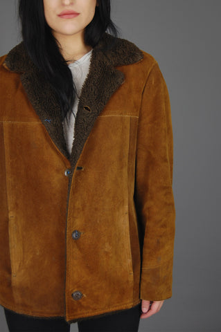 One More Chance Vintage - Vintage Montgomery Ward Sherpa Suede Leather Rancher Jacket
