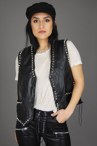 One More Chance Vintage - Punk Rock Lies Vintage Rebel Ryder Patchwork Studded Leather Jacket