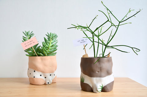 Group Partner leaves boy planters in Singapore - Eat & Sip handmade pot