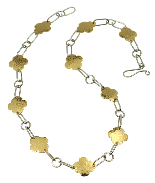 Hammered Stainless Steel Link Necklace with Nu Gold Hammered Quatrefoil Accents
