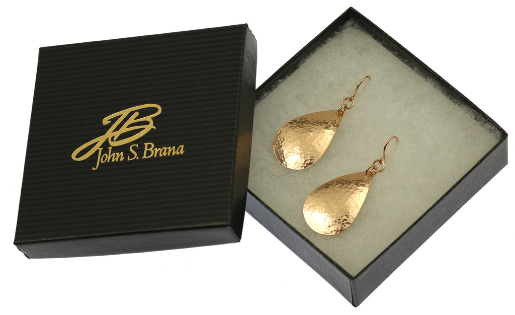Small Hammered Bronze Teardrop Earrings