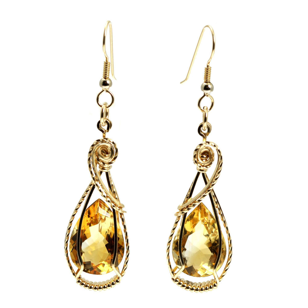 19 CT Cushion Cut Citrine 14K Gold-filled Earrings - johnsbrana - 3
