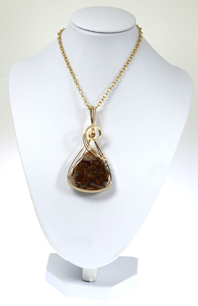 West Texas Agate 14K Gold-filled Wire Wrapped Pendant - johnsbrana - 3