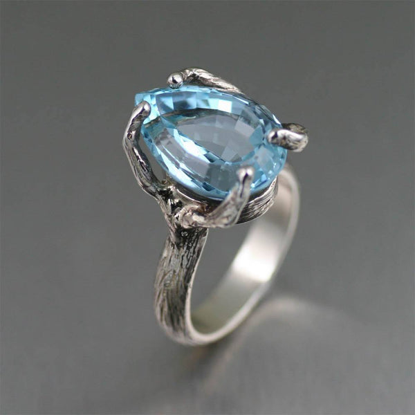 13 ct Pear Cut Blue Topaz Sterling Silver Cocktail Ring - johnsbrana - 1