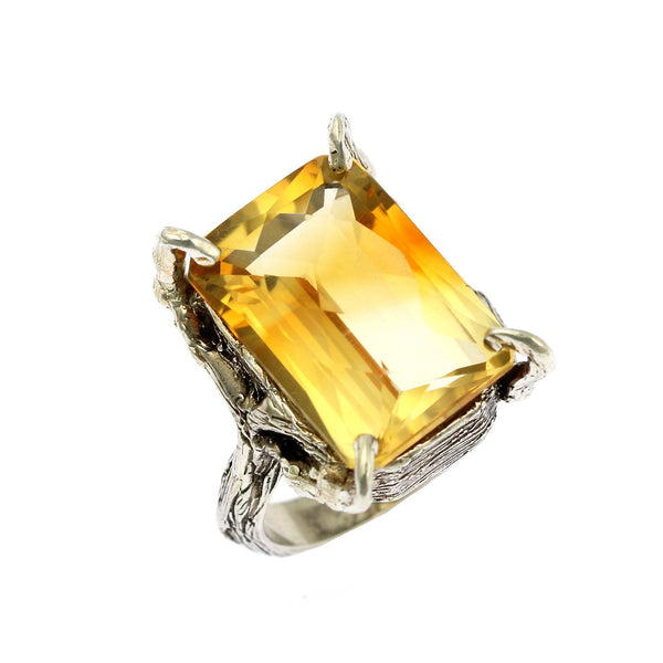 21.5 ct Checkboard Cut Citrine Sterling Silver Cocktail Ring - johnsbrana - 1