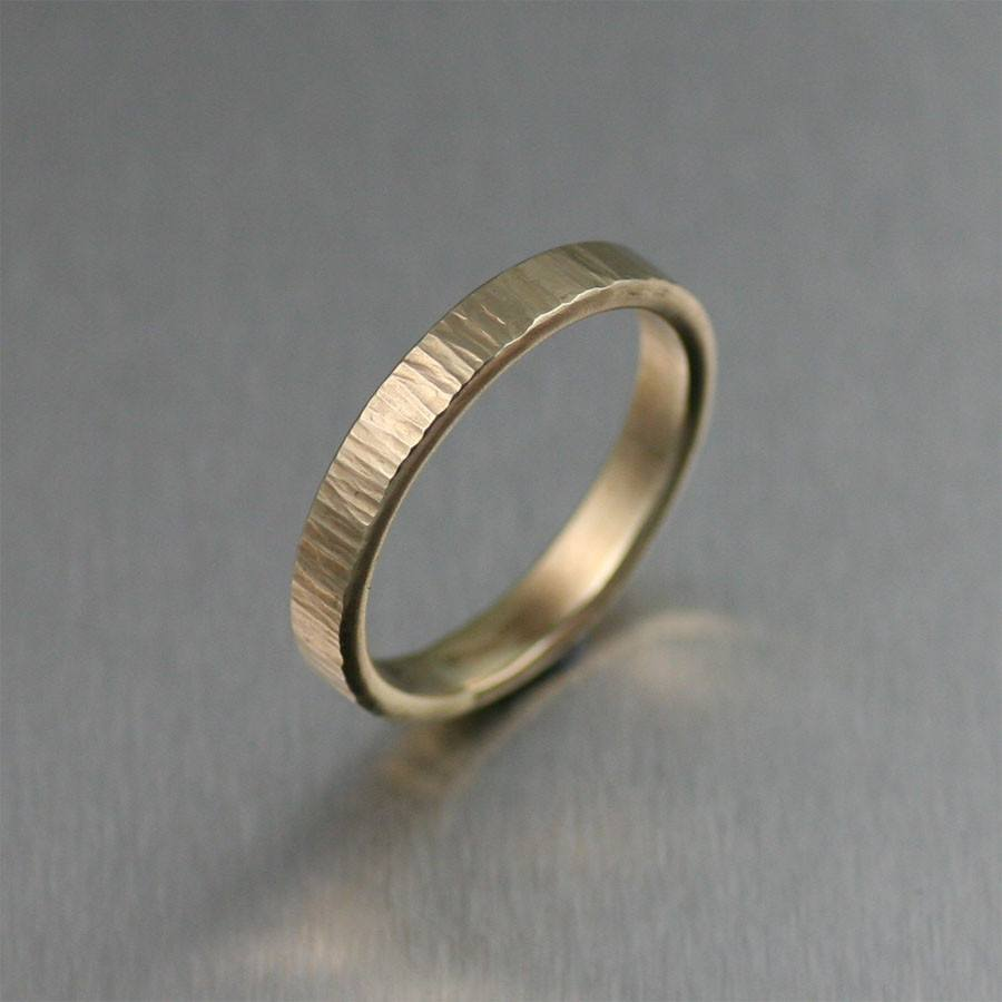 3mm Chased 14K Gold Band Ring - johnsbrana