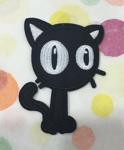 CLOTH PATCH - Black cat with huge eyes