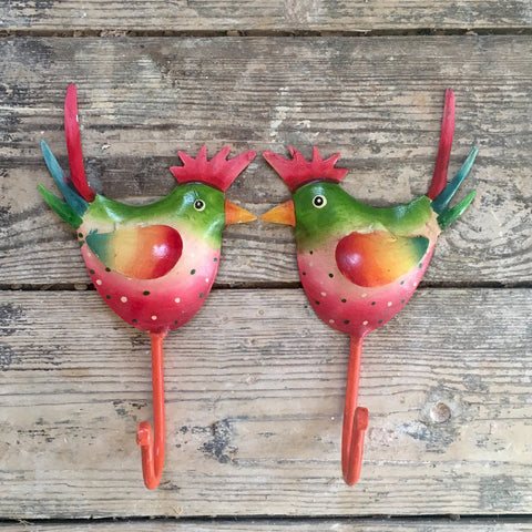 Pair of Rainbow Rooster Hooks | Fair Trade Gifts for Animal Lovers