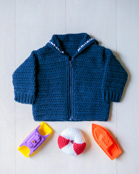 Baby Sailor Crackerjack Sweater plus Lifesaver Shaped Rattle, size NB-3 months, Hand Crocheted