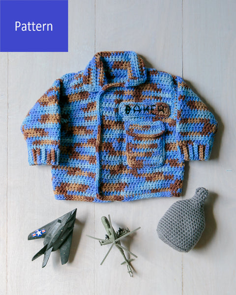Baby Air Force Sweater and Canteen Baby Rattle Crochet Pattern