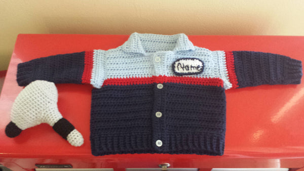 Auto Mechanic Baby Sweater Crochet Pattern - Take Baby to Work Day Sweater Crochet Pattern