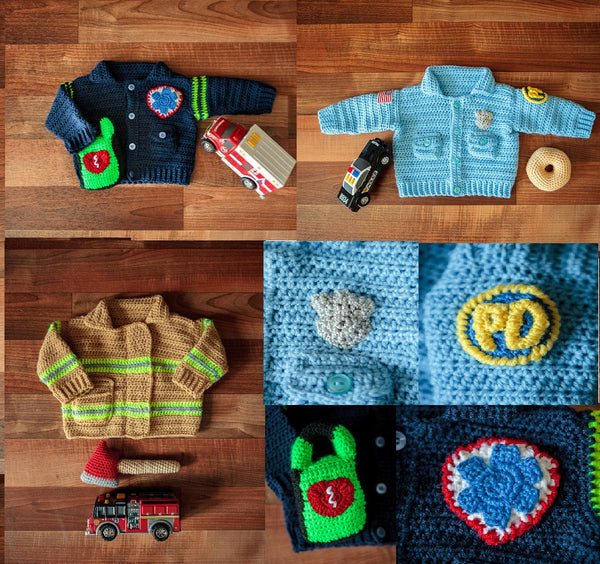 """Take Baby to Work Day"" Sweaters - First Responder Edition Crochet Patterns Ebook - Firefighter, Policeman, EMT"