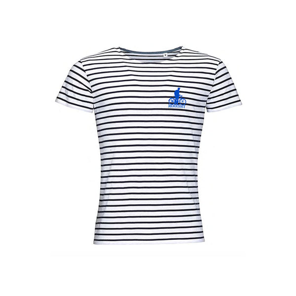 BICYCLE EMBROIDERED BLUE MOTIF STRIPED TEE